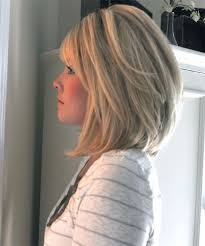 medium hair styles with layers back view medium length slanted bob hairstyle
