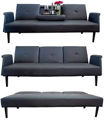 Futon Leather Sofa Bed Leather Sofa Bed With Tray And Cup Holders Black