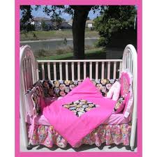 Pink And Black Crib Bedding Sets Sugar Skulls In Pink And Black Crib Bedding Set