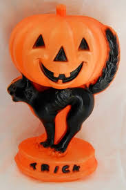 1960s halloween blown plastic jack o lantern pumpking and scary