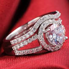 silver wedding ring sets genuine 925 sterling silver wedding ring set engagement gizmo betty