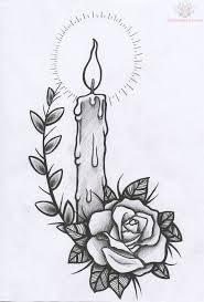 rose skull candle tattoo design