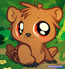 drawn baby animal cute animation pencil and in color drawn baby