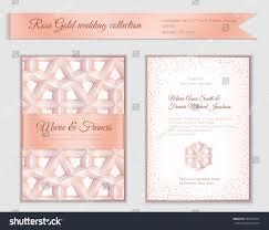 luxury wedding invitation template rose gold stock vector