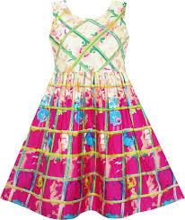abstract pattern sleeveless dress girls dress sleeveless plaid checkered abstract painting pattern