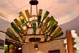 Wine Bottle Light Fixtures Kitchen Cool Wine Bottle Chadelier Light With Black Metal Frame