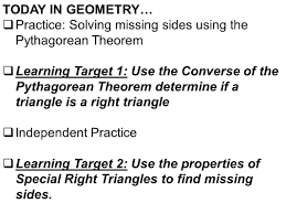 today in geometry u2026 practice solving missing sides using the