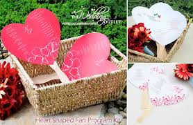 Diy Wedding Program Fans Kits Wednesday Wedding Accessory Heart Shaped Fan Program Kits