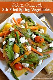 Main Dish Vegetables - polenta cakes with stir fried spring vegetables