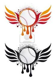 grungy baseball with fire wings and drops vector tattoo photo