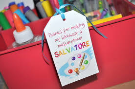 Thank You Favors by Artist Birthday Favor Tags Thank You Favors