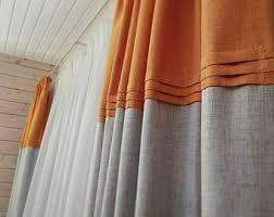 And Orange Curtains Orange Curtains Etsy