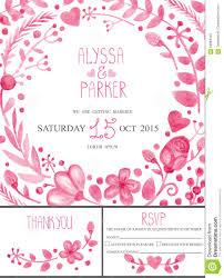 wedding invitation card set watercolor pink floral decor stock