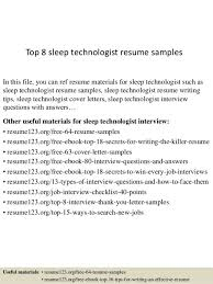 Nuclear Medicine Technologist Resume Examples Sleep Technician Cover Letter
