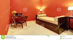 sofa bed desk red room with sofa bed and office desk stock photography image