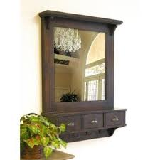 Wall Shelves With Drawers Bombay Brown Wall Mirror With Drawers And Hooks Free Shipping