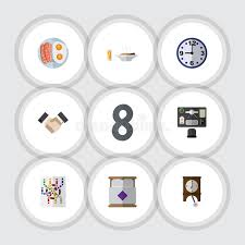 icon bureau flat icon oneday set of bureau clock lunch and other vector