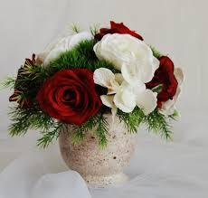 Home Decor Flower Arrangements Silk Floral Arrangement Faux Roses Artificial White