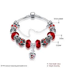 silver plated bracelet chain images Pandora crown pendant big hole red glass beads silver plated jpg
