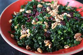 kale salad with cranberries and toasted walnuts