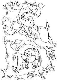 chip and dale came out from their tree colouring page fun colouring