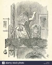 this illustration of alice climbing up on the fireplace mantel and