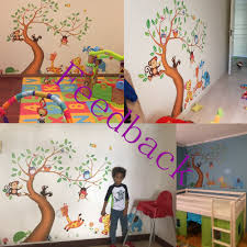 aliexpress com buy t04030 nursery room decor wall stickers for aliexpress com buy t04030 nursery room decor wall stickers for kids rooms oversize jungle animals tree monkey owl removable wall decal stickers from