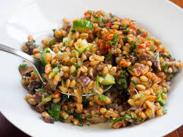 whole grain spelt salad with leeks and marinated mushrooms recipe