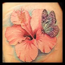 hibiscus flower and butterfly tattoos and by mike bush