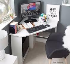 Corner Laptop Desk Modern White Corner Desk Wood Study Writing Laptop Table Shelving