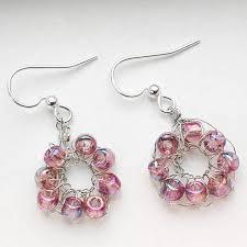 vire earrings beaded crochet wire earrings petals to picots