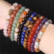 beading elastic bracelet images Pulseras mujer 8mm stone beads bracelets gold buddha beads jpg