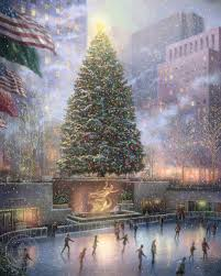thomas kinkade u0027s depiction of the christmas tree in rockefeller