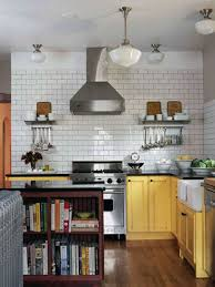 subway tile backsplash in the kitchen walls featured with open