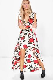 amie wrap floral woven maxi dress boohoo