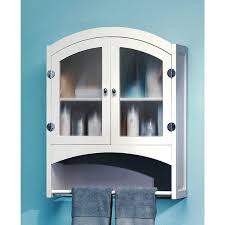 Bathroom Storage Cabinets White Bathroom Decorating Using Glass Front Double Door White Wood