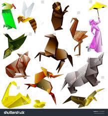 origami animal shapes backgroundvector design stock vector