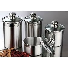 kitchen canisters glass stainless steel jars kitchen canister set 4 storage canisters