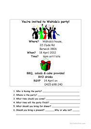 what does rsvp mean in english on an invitation 30 free esl invitation worksheets