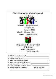 30 free esl invitation worksheets