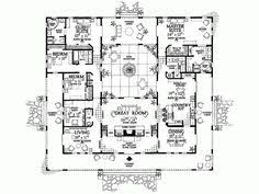 U Shaped House Plans With Pool In Middle Spanish Colonial Revival House Plans Style House Plans 4008