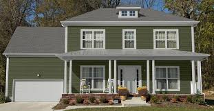 sage siding and red colors parkside pine dark green house