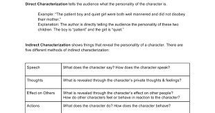direct and indirect characterization in the giver google docs