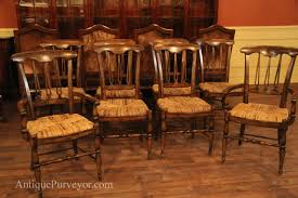 country spindle back chairs with rush seat for rustic dining
