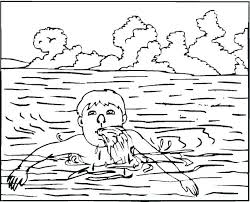 beach vacation cute little swimming on the coloring page