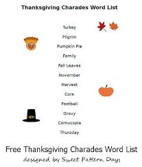 printable thanksgiving charades words turkeyday