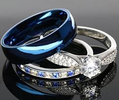 blue wedding rings his and hers 925 sterling silver blue saphire