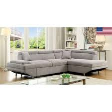 Living Room Furniture Made In The Usa Furniture Of America Sectional Sofa W Pull Out Bed Sleeper Gray