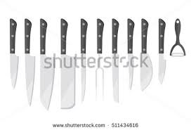 kitchen knives utensils black white silhouettes stock vector