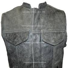 motorcycle vest butter soft distressed grey son of anarchy style leather vest